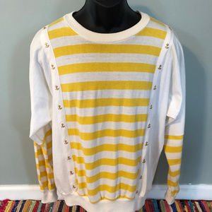 80s Nautical Anchor Top Long Sleeve Stripe Large